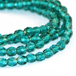 Teal Silver Lined 4mm Czech Fire-polish Beads x 50