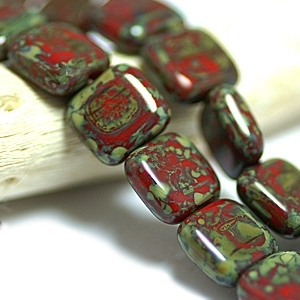 Red Picasso 9mm Flat Square Beads x 25