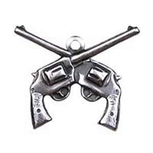 Non-Tarnish Antique Silver Plated Crossed Pistol Charm x 1