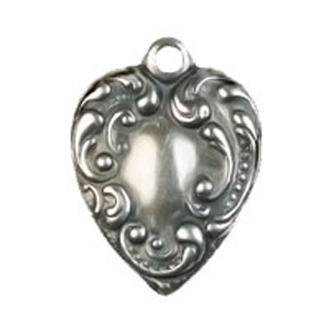Non-Tarnish Antique Silver Plated Small Victorian Heart Charm x 1