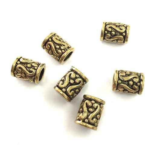 9x7mm Patterned Tube Spacer Beads Gold Plated x 6