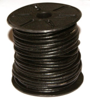 Black 1.0mm Round Leather Cord x 1 yard