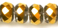 Crystal/Gold 12x9mm Crystal Rondelle Bead x1