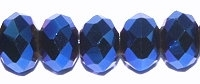 Metallic Blue 6x4mm Crystal Rondelle x 50