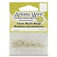 "18 Gauge (7/32"") Non Tarnish Silver Plated Chain Maille Rings x 1 pk"