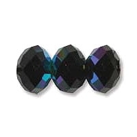 Black Lustre 6x4mm Crystal Rondelle x 50