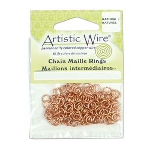 "20 Gauge (3/32"") Natural Copper Chain Maille Rings x 1pk"