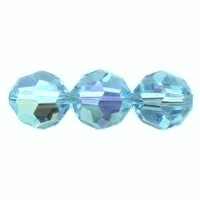 Aqua Lustre 6mm Crystal Round Beads x 35