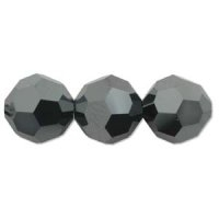 Black Lustre 6mm Crystal Round Beads x 35