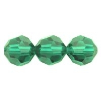 Emerald Green Lustre 8mm Crystal Round Beads x 25