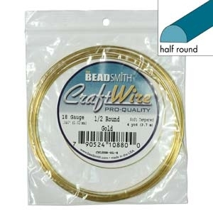 1.02mm Non-Tarnish Gold Plated Half Round Jewellery Wire x 1