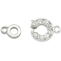 Beadalon Crystal Spring Ring Clasp Rhodium Plated x 1