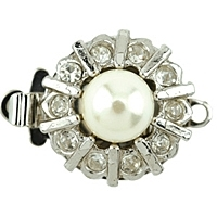 Beadalon Crystal Push Clasp Rhodium Plated x 1
