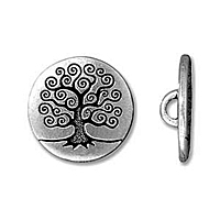 Silver Plated Tree of Life Button x 1