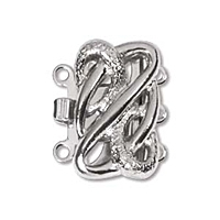 Square Clasp 3 Strand Rhodium Plated x 1