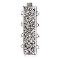 Rectangle Clasp 4 Strand Rhodium Plated x 1