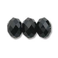 Jet Black 6x4mm Crystal Rondelle x 50